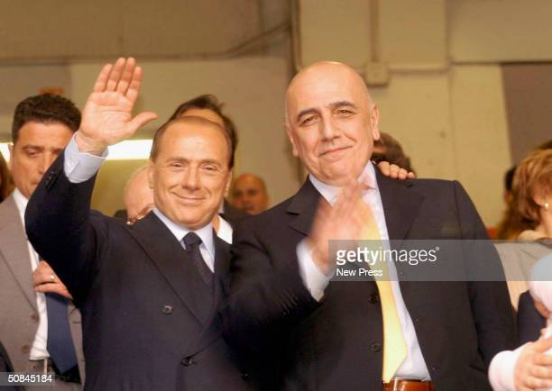 Silvio Berlusconi celebrates after the Serie A match between AC Milan and Brescia on May 16 2004 in Milan Italy