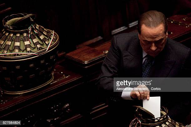 Silvio Berlusconi during the votation of the Italian Parliament to elect the 12th President of the Italian Republic