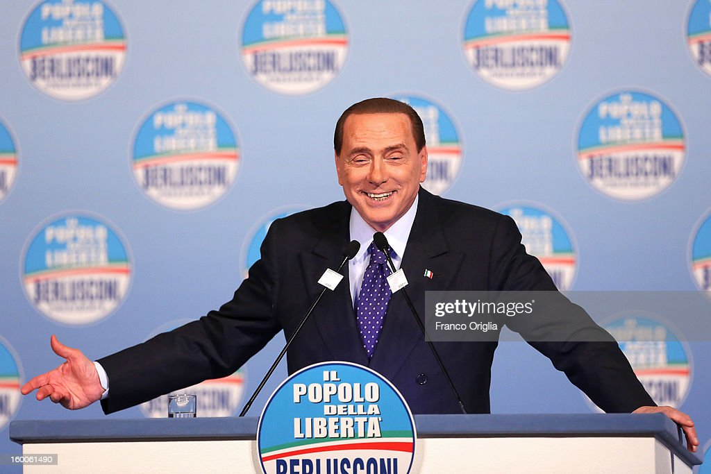 Silvio Berlusconi gestures during a meeting with candidates of Popolo della Liberta (PDL) party at the Capranica Hall on January 25, 2013 in Rome, Italy. The former Italian prime minister Berlusconi will lead his centre-right coalition during the Italian elections scheduled for February 24.