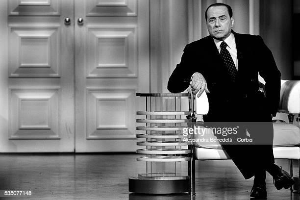 Silvio Berlusconi leader of Italy's centerright coalition Forza Italia attends the Italian political debate show Porta a Porta at Rai's broadcast...