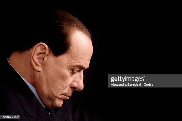 Silvio Berlusconi leader of Italy's centerright coalition Forza Italia prior to the beginning of the Italian political debate show Porta a Porta at...