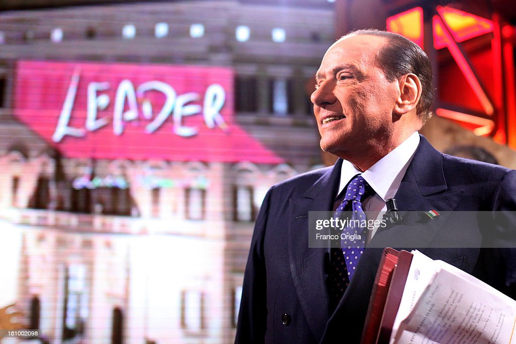 <a gi-track='captionPersonalityLinkClicked' href=/galleries/search?phrase=Silvio+Berlusconi&family=editorial&specificpeople=201842 ng-click='$event.stopPropagation()'>Silvio Berlusconi</a> makes an appearance on the Italian TV talk show Leader on February 8, 2013 in Rome, Italy. The former Italian prime minister will lead his centre-right coalition during the Italian elections scheduled for February 24.