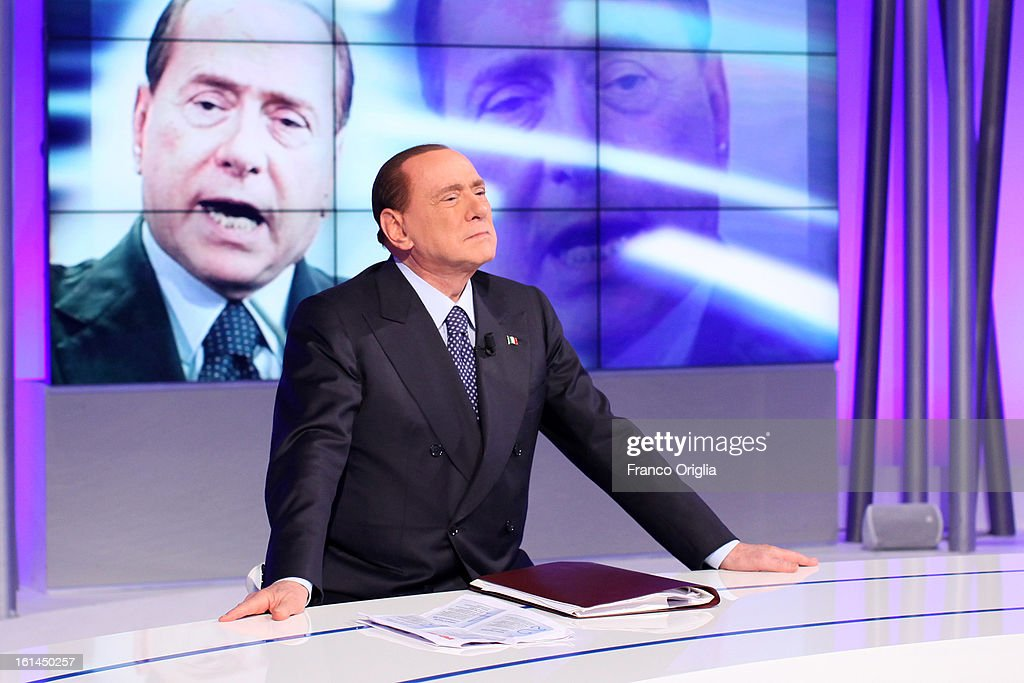 <a gi-track='captionPersonalityLinkClicked' href=/galleries/search?phrase=Silvio+Berlusconi&family=editorial&specificpeople=201842 ng-click='$event.stopPropagation()'>Silvio Berlusconi</a> makes an appearance on the set of 'Uno Mattina' Italian TV talk show on February 11, 2013 in Rome, Italy. The former Italian prime minister will lead his centre-right coalition during the Italian elections scheduled for February 24.