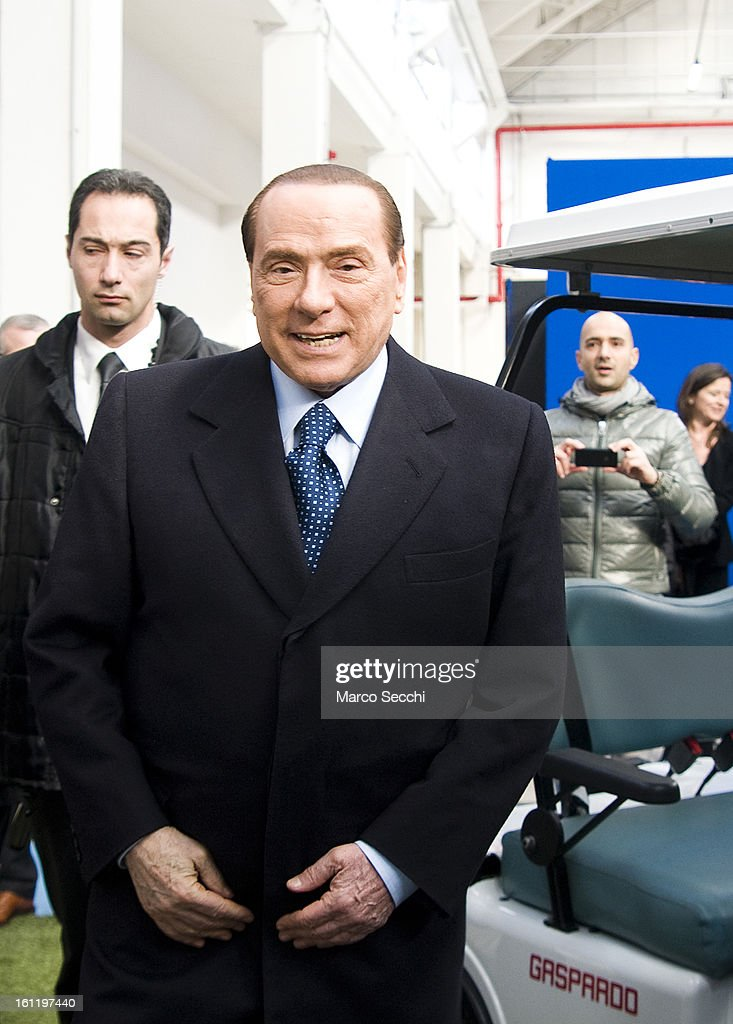 <a gi-track='captionPersonalityLinkClicked' href=/galleries/search?phrase=Silvio+Berlusconi&family=editorial&specificpeople=201842 ng-click='$event.stopPropagation()'>Silvio Berlusconi</a> visits two factories in the Venice Province while campaigning in the Venice Province on February 9, 2013 in Venice, Italy. The former Italian prime minister will lead his centre-right coalition during the Italian elections scheduled for February 24.
