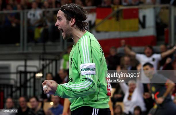 Silvio Heinevetter goalkeeper of Germany celebrates during the Men's Handball European Championship Group C match between Germany and Sweden at the...