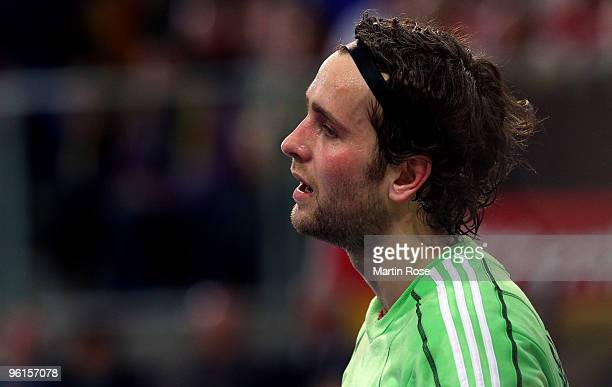 Silvio Heinevetter goalkeeper of Germany looks dejected during the Men's Handball European Championship Group C match between Germany and Sweden at...