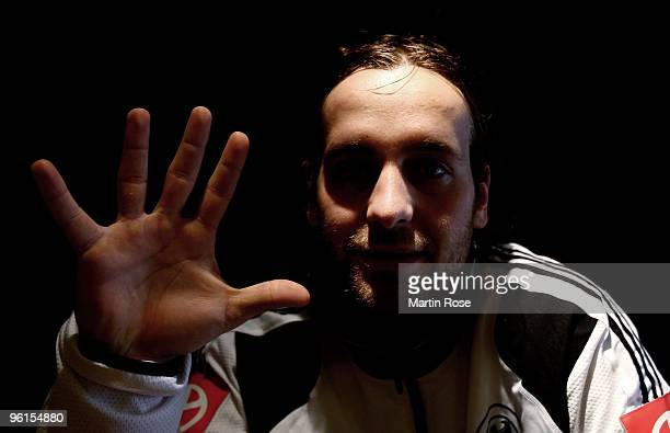 Silvio Heinevetter goalkeeper of Germany poses prior to the photocall on the roof at the Golden Baer hotel on January 25 2009 in Innsbruck Austria
