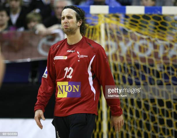 Silvio Heinevetter of Berlin reacts during the Toyota Handball Bundesliga match between Fuechse Berlin and HSV Hamburg at the MaxSchmeling hall on...