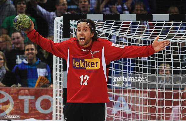 Silvio Heinevetter of Berlinis seen in action during the Toyota Handball Bundesliga match between HSV Hamburg and Fuechse Berlin at the o2 World...
