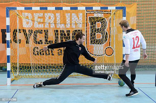 Silvio Heinevetter of Fuechse Berlin and Jakob Busk of 1 FC Union Berlin during the goalkeeper training on april 14 2016 in Berlin Germany
