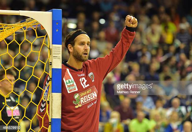Silvio Heinevetter of Fuechse Berlin gives instructions during the game between Fuechse Berlin and TBV Lemgo on February 26 2015 in Berlin Germany