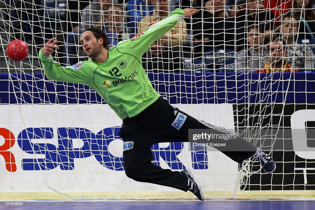 <a gi-track='captionPersonalityLinkClicked' href=/galleries/search?phrase=Silvio+Heinevetter&family=editorial&specificpeople=640249 ng-click='$event.stopPropagation()'>Silvio Heinevetter</a> of Germany gets a goal during the Men's European Handball Championship second round group one match between Serbia anhd Germany at Beogradska Arena on January 21, 2012 in Belgrade, Serbia.