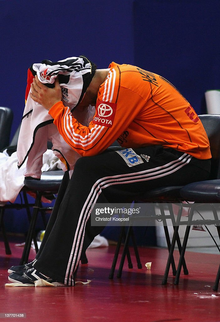 <a gi-track='captionPersonalityLinkClicked' href=/galleries/search?phrase=Silvio+Heinevetter&family=editorial&specificpeople=640249 ng-click='$event.stopPropagation()'>Silvio Heinevetter</a> of Germany looks dejected after losing 32-33 the Men's European Handball Championship second round group one match between Poland and Germany at Beogradska Arena on January 25, 2012 in Belgrade, Serbia.
