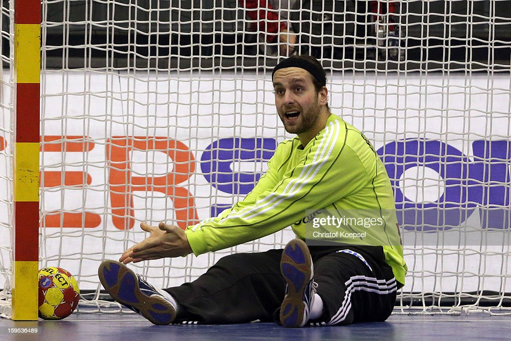 Silvio Heinevetter of Germany looks dejected during the premilary group A match between Germany and Argentina at Palacio de Deportes de Granollers on January 15, 2013 in Granollers, Spain.