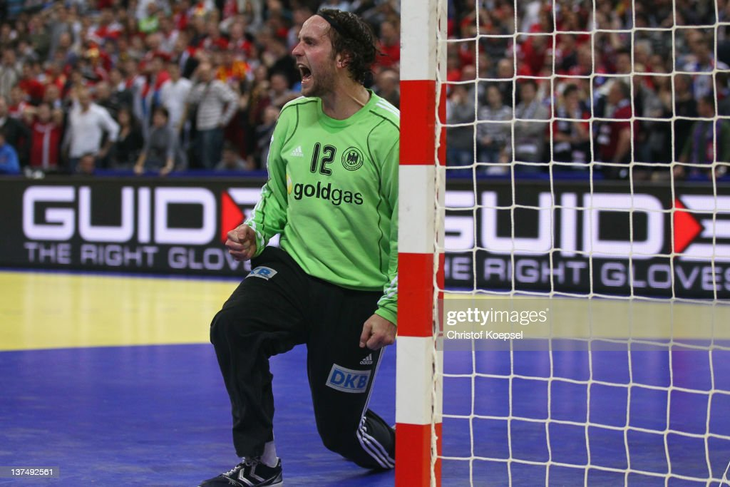<a gi-track='captionPersonalityLinkClicked' href=/galleries/search?phrase=Silvio+Heinevetter&family=editorial&specificpeople=640249 ng-click='$event.stopPropagation()'>Silvio Heinevetter</a> of Germany shows emotions after saving a shot during the Men's European Handball Championship second round group one match between Serbia anhd Germany at Beogradska Arena on January 21, 2012 in Belgrade, Serbia.