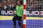 Silvio Heinevetter of Germany shows emotions after saving a shot during the Men's European Handball Championship second round group one match between...