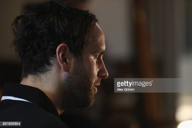Silvio Heinevetter talks to journalists during a Germany press conference at Novotel Rouen Sud during the 25th IHF Men's World Championship 2017 on...