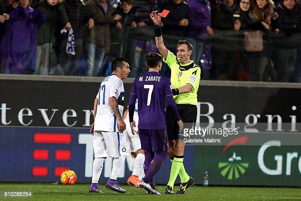 Silvio Mazzoleni referee shows a red card to Mauro Zarate of ACF Fiorentina during the Serie A match between ACF Fiorentina and FC Internazionale...