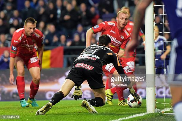 Silvio Proto goalkeeper of KV Oostende saves a goal attempt during the Jupiler Pro League match between RSC Anderlecht and KV Oostende at the...