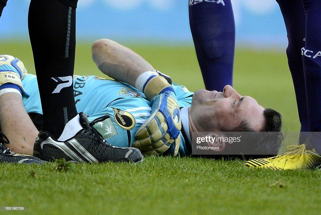 Silvio Proto of RSC Anderlecht lies injured during the Jupiler League match between RSC Anderlecht and KRC Genk in Constant Vanden Stock stadium on April 1, 2013 in Anderlecht , Belgium.