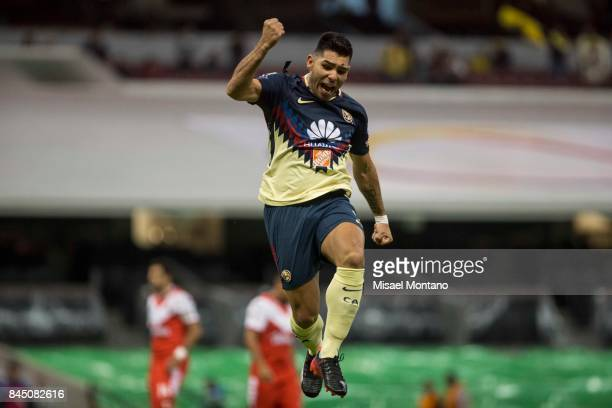 Silvio Romero of America celebrates after scores during the eighth round match between America and Veracruz as part of the Torneo Apertura 2017 Liga...