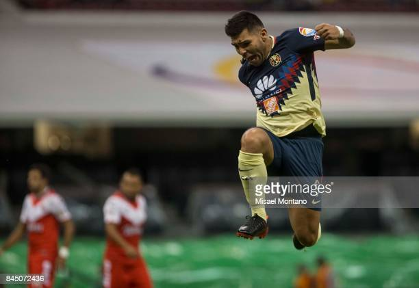 Silvio Romero of America celebrates after scoring the first goal of his team during the 8th round match between America and Veracruz as part of the...