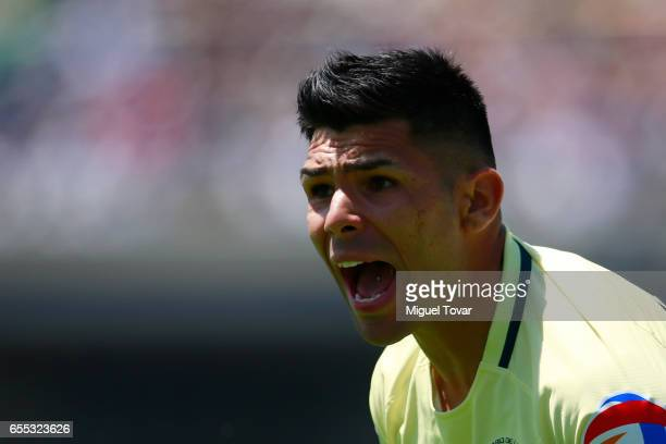 Silvio Romero of America gestures during the 11st round match between Pumas UNAM and America as par of the Torneo Clausura 2017 Liga MX at Olympic...