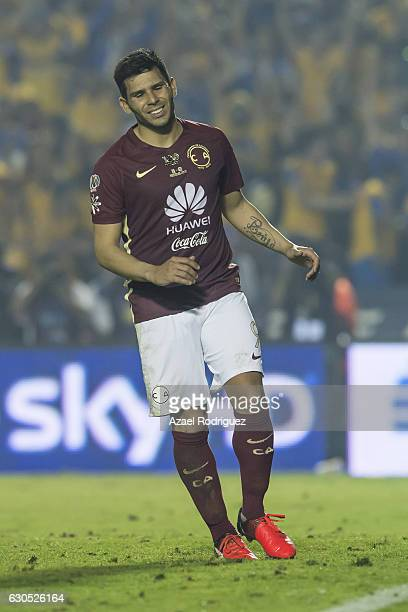 Silvio Romero of America reacts after failing his penalty during the Final second leg match between Tigres UANL and America as part of the Torneo...