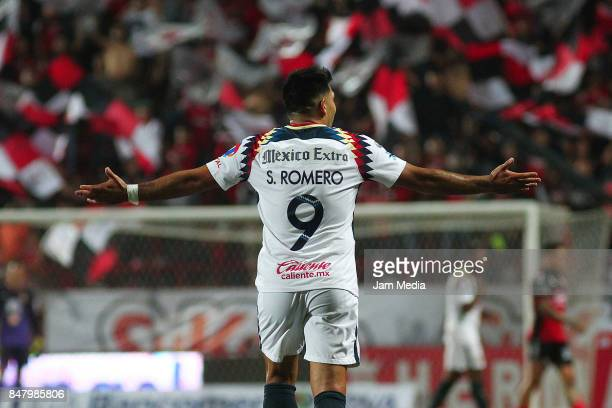 Silvio Romero of America reacts during the 9th round match between Tijuana and America as part of the Torneo Apertura 2017 Liga MX at Caliente...