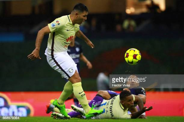 Silvio Romero of America scores the first goal of his team during the 14th round match between America and Queretaro as part of the Torneo Clausura...