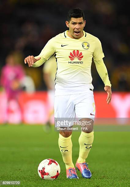 Silvio Romero of Club America in action during the FIFA Club World Cup Semi Final match between Club America and Real Madrid at International Stadium...