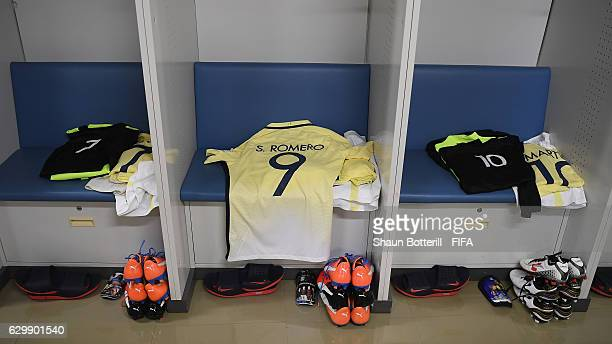 Silvio Romero of Club America's shirt is ready for his arrival before the FIFA Club World Cup semi final match between Club America and Real Madrid...