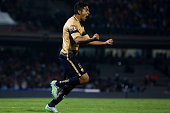 Silvio Torales of Pumas celebrates after scoring the third goal of his team during the final second leg match between Pumas UNAM and Tigres UANL as...