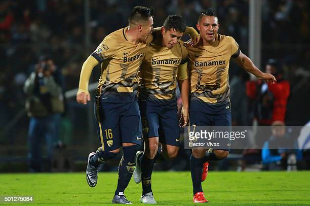Silvio Torales of Pumas celebrates with teammates after scoring the third goal of his team during the final second leg match between Pumas UNAM and...