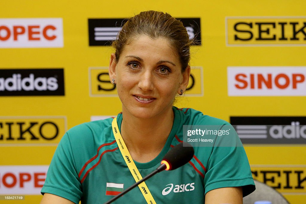 Silviya Danekova of Bulgaria during a press conference ahead of the 20th IAAF World Half Marathon on October 5, 2012 in Kavarna, Bulgaria.