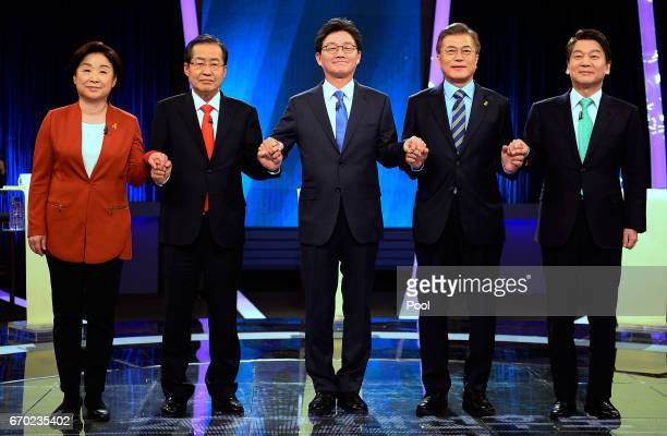 Sim Sangjung the presidential candidate of the leftist Justice Party Hong Joonpyo the presidential candidate of the conservative Liberty Korea Party...