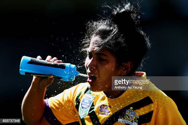Simaima Taufa of the Australian takes a breather during the 2017 Auckland Nines match between the Kiwi Ferns and the Australian Jillaroos at Eden...