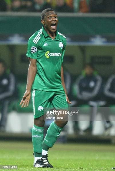 Simao of Panathinaikos reacts during the UEFA Champions League Group B match between Werder Bremen and Panathinaikos Athens at the Weser stadium on...