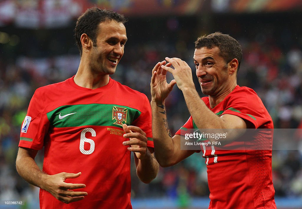 Simao of Portugal celebrates with team mate Ricardo Carvalho after scoring the second goal during the 2010 FIFA World Cup South Africa Group G match...