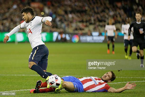 Sime Vrsaliko of of Atletico Madrid tackles DeAndre Yedlin of Tottenham Hotspur during 2016 International Champions Cup Australia match between...