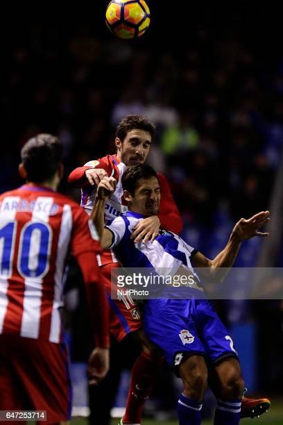Sime Vrsaljko defender of Atletico de Madrid compete for the ball against Celso Borges of Deportivo de La Coruña during the La Liga Santander match...