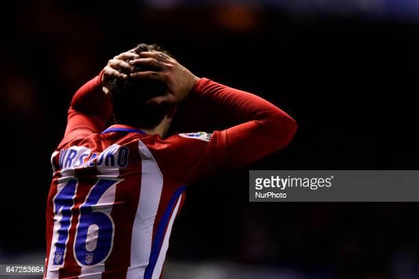 Sime Vrsaljko defender of Atletico de Madrid reacts during the La Liga Santander match between Deportivo de La Coruña and Atletico de Madrid at...