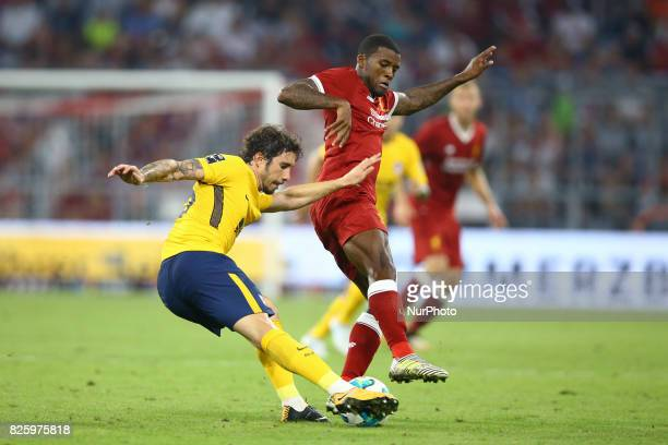 Sime Vrsaljko of Atletico de Madrid and Georgino Wijnaldum of Liverpool during the Audi Cup 2017 match between Liverpool FC and Atletico Madrid at...