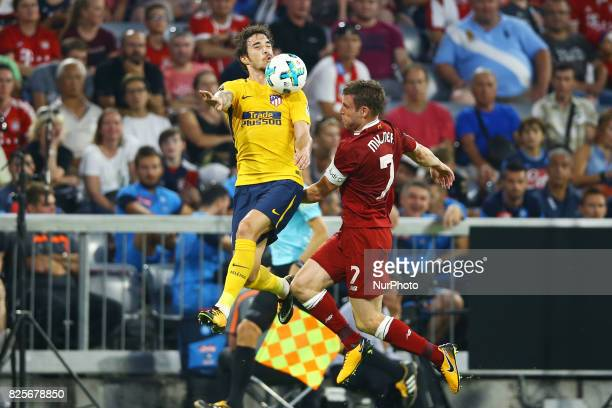 Sime Vrsaljko of Atletico de Madrid and James Milner of Liverpool during the Audi Cup 2017 match between Liverpool FC and Atletico Madrid at Allianz...