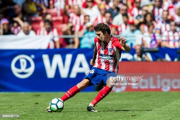 Sime Vrsaljko of Atletico de Madrid in action during the La Liga 201718 match between Atletico de Madrid and Sevilla FC at the Wanda Metropolitano on...