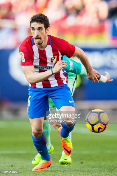 Sime Vrsaljko of Atletico de Madrid in action during their La Liga match between Atletico de Madrid and FC Barcelona at the Santiago Bernabeu Stadium...
