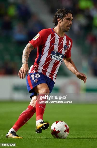 Sime Vrsaljko of Atletico de Madrid runs with the ball during the Copa del Rey first leg match between Elche CF and Atletico de Madrid at Estadio...