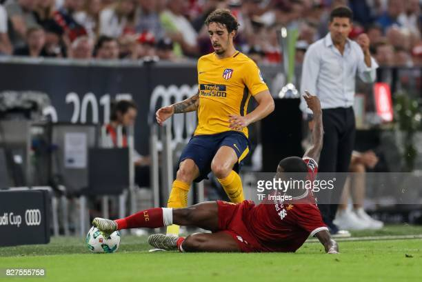 Sime Vrsaljko of Atletico Madrid and Georginio Wijnaldum of Liverpool battle for the ball during the Audi Cup 2017 match between Liverpool FC and...