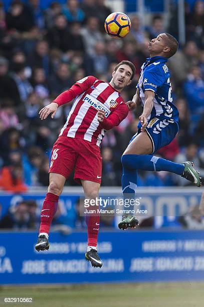 Sime Vrsaljko of Atletico Madrid duels for the ball with Deyverson Brum of Deportivo Alaves during the La Liga match between Deportivo Alaves and...