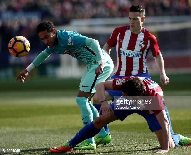 Sime Vrsaljko of Atletico Madrid in action against Neymar of Barcelona during the La Liga football match between Atletico Madrid and Barcelona at...